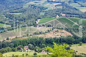 Picturesque  aerial view at Tuscany landscape in summer