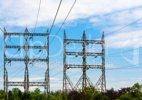 Two large rectangular electrical towers.