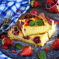 pieces of cheesecake with strawberries