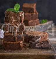 Square pieces of chocolate cake