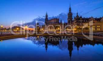 Theaterplatz Dresden Buildings reflect in Water at Sunrise