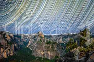 Yosemite Valley At Night With Startrails