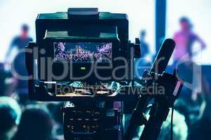 Shooting concert professional camera. View of the video camera v