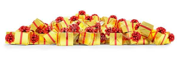 3d render - Golden christmas gift boxes with red ribbons
