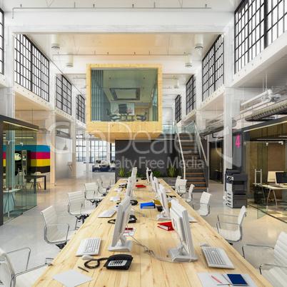 3d render - open plan office - office building