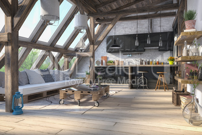 3d render - scandinavian flat - kitchen - dining room