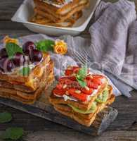 French toast from white bread with cottage cheese, strawberries