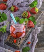 yoghurt with fresh strawberries, milk smoothies