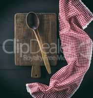 old brown wooden spoon and board