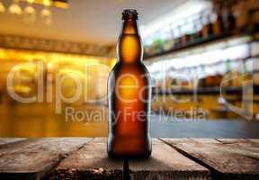 Beer on a dark pub