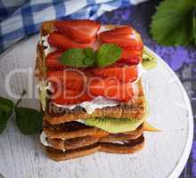 French toast with cottage cheese, strawberries, kiwi and blueber