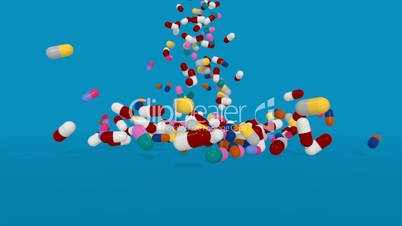 Multiple Color Pills Falling on a Blue Background