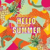 Hello summer card background over abstract blot pattern