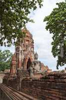 ruin in the temple complex What Maha That in Ayutthaya
