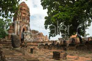 ruin in the temple complex Wat Maha That in Ayutthaya