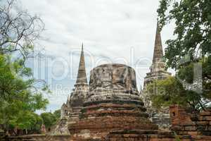 ruins in the temple complex Phra Sri Sanpet in Ayutthaya
