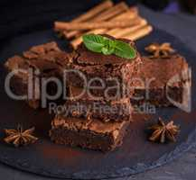 square pieces of baked chocolate cake