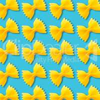 Bow tie pasta pattern on vibrant turquoise color background