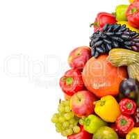 Fruit and vegetable isolated on white background. Free space for