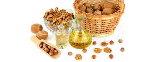Oil of walnut and hazelnut, nuts fruit isolated on white backgro