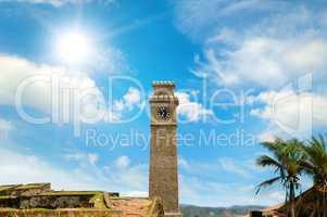 Clock on the tower. Asian fort Halle. Sri Lanka