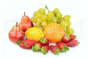 Fruit and berries isolated on white background.