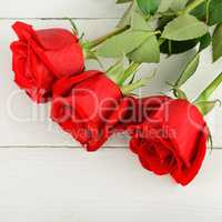 Beautiful red roses on a white wooden background. Flat lay, top