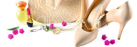 Elegant set of accessory for women.Wide photo.