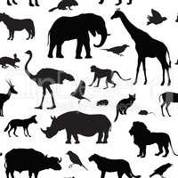Animal silhouette seamless pattern. Wildlife textured background