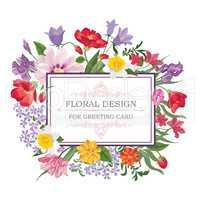 Floral frame Summer greeting card. Flower bouquet background