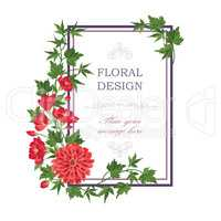 Floral frame Summer greeting card. Flower bouquet background