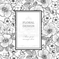 Floral frame greeting card. Flower bouquet engraved background