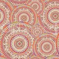 Abstract oriental seamless pattern. Floral circular mosaic ornament.