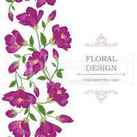 Floral seamless background. Flower bouquet border. Flourish card