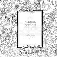 Floral background. Flower bouquet cover. Flourish greeting card