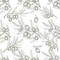 Olives seamless pattern. Engraving olive branch background.