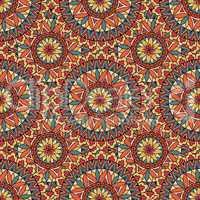 Abstract mosaic tile pattern. Oriental geometric circular ornament