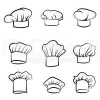 Cook hat. Drawn hat chef cook. Hat chef-cooker set. Cuisine signs