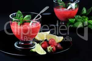strawberry slushie with basil