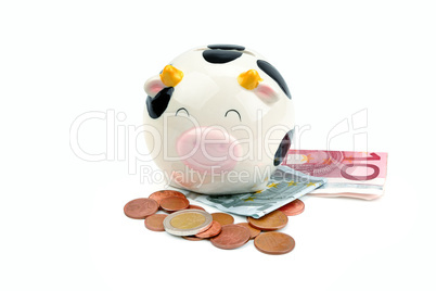 Piggy bank, banknotes and euro coins isolated on white backgroun