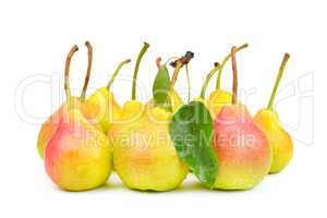 Ripe appetizing pears isolated on white background.