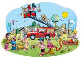 Cartoonillustration: Feuerwehrfest