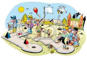 Cartoonillustration: Minigolf