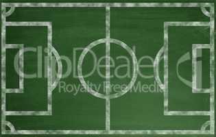 Soccer field on blackboard or chalkboard