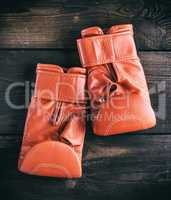 pair of red leather gloves for boxing