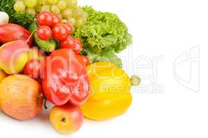 Fruits and vegetables isolated on white background. Free space f
