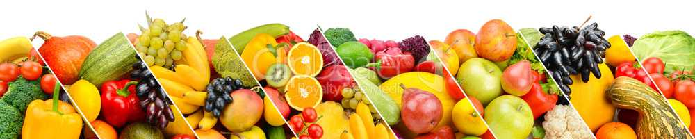 Collection fresh fruits and vegetables isolated on white backgro