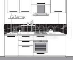 Interior sketch of kitchen room. Outline blueprint design of kit