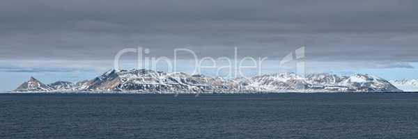 Mountain range in Svalbard islands, Norway
