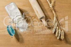 Flour in glass jar on a table
